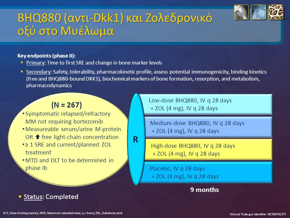 BHQ880 (αντι-Dkk1) και Zoλεδρονικό οξύ στο Μυέλωμα Key endpoints (phase II):  Primary: Time to first SRE and change in bone marker levels  Secondary