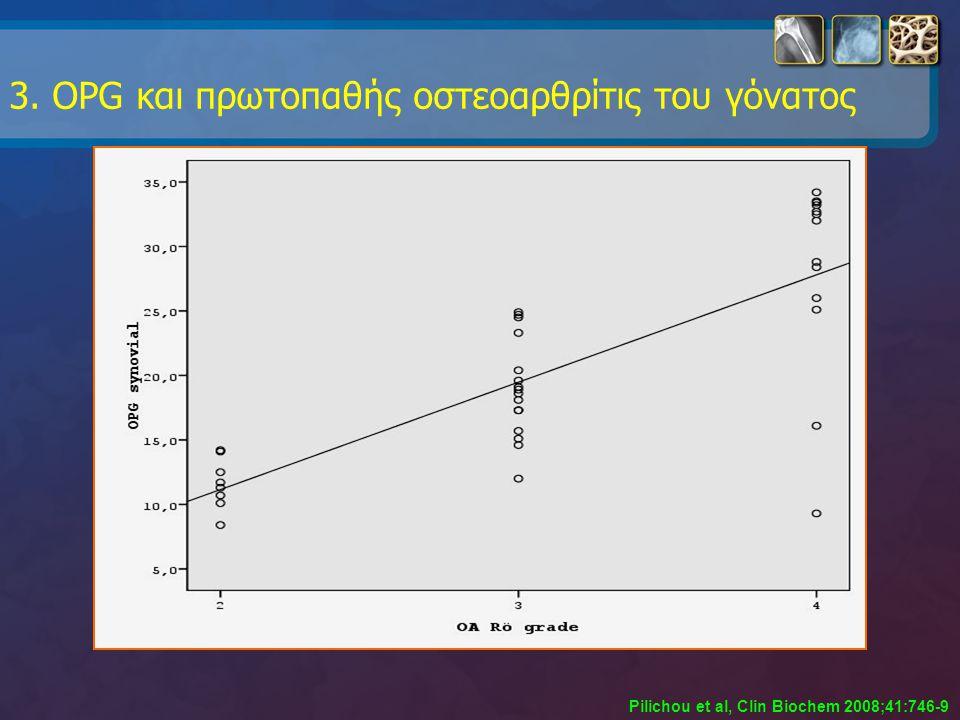 3. OPG και πρωτοπαθής οστεοαρθρίτις του γόνατος Pilichou et al, Clin Biochem 2008;41:746-9