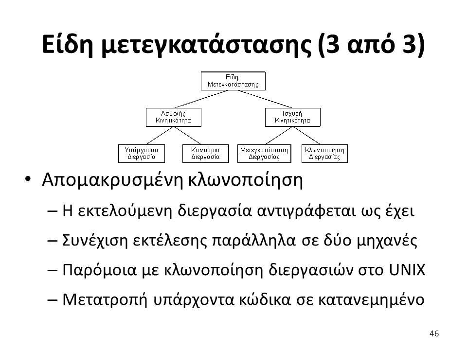 Είδη μετεγκατάστασης (3 από 3) Απομακρυσμένη κλωνοποίηση – H εκτελούμενη διεργασία αντιγράφεται ως έχει – Συνέχιση εκτέλεσης παράλληλα σε δύο μηχανές