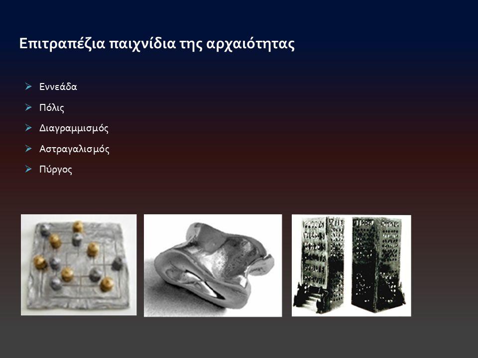  Εννεάδα  Πόλις  Διαγραμμισμός  Αστραγαλισμός  Πύργος Επιτραπέζια παιχνίδια της αρχαιότητας
