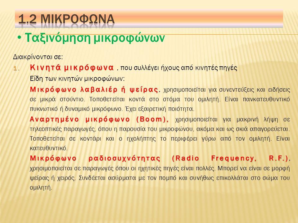 Τεχνικοί όροι ηχοληψίας 13.Μη ισοσταθμισμένο μικρόφωνο (Unbalanced Mic): 13.