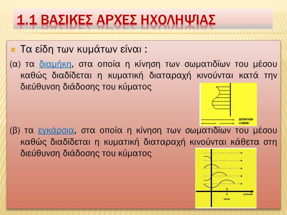  Ο ήχος προσδιορίζεται σαν: (α) τη μεταβολή της πίεσης ή της ταχύτητας των σωματιδίων ενός ελαστικού μέσου, μέσα από το οποίο διαδίδεται το κύμα (β) τ ο αίτιο που διεγείρει το αισθητήριο ακοής ή την αίσθηση που δημιουργείται στον εγκέφαλο, μέσω του αυτιού, από την μεταβολή του ατμοσφαιρικού αέρα.