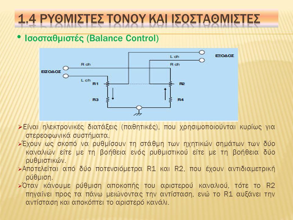  Οι Υ.Σ.ρυθμίζονται από τον κλάδο C 1, C 2 και το R 1 ρυθμίζει τις υψηλές συχνότητες.