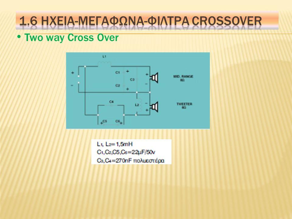 Cross Over Είναι ηλεκτρονικά κυκλώματα, που τοποθετούνται μέσα στα ηχεία και σκοπό έχουν να διαχωρίσουν το ακουστικό φάσμα σε ζώνες και να οδηγήσουν αυτές τις ζώνες σε αντίστοιχα μεγάφωνα.