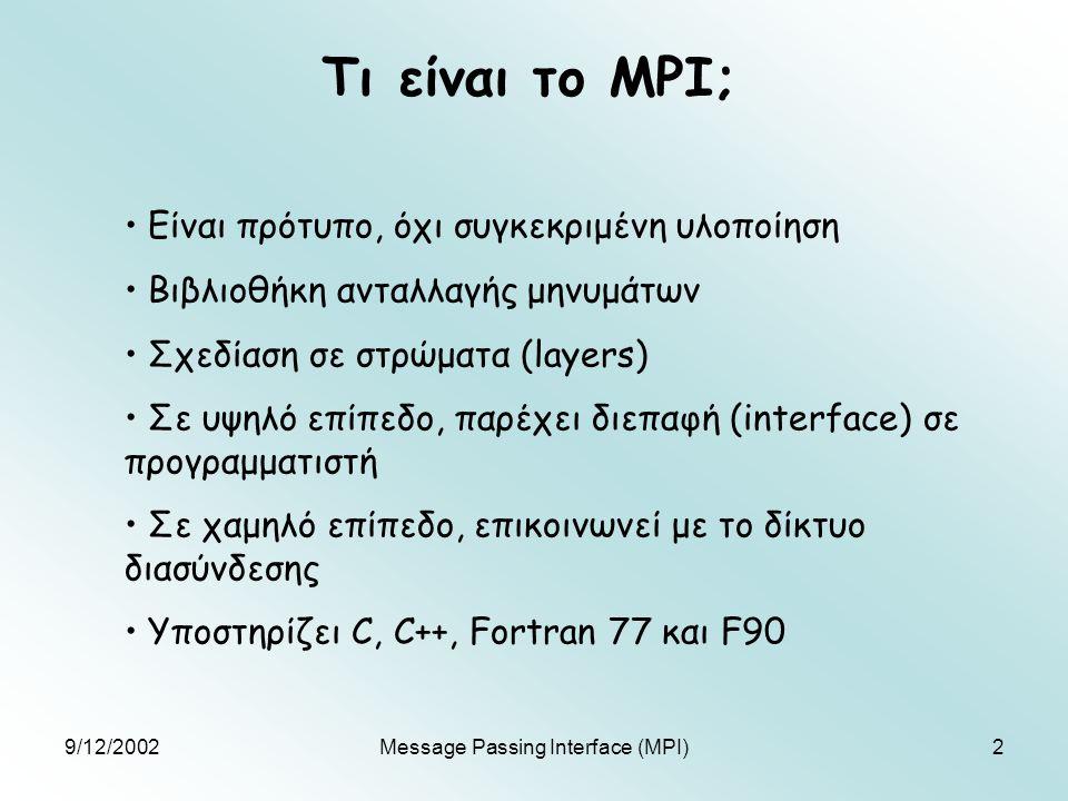 9/12/2002Message Passing Interface (MPI)23 Synchronous-Buffered-Ready (2) int MPI_Ssend(void *buf, int count, MPI_Datatype datatype, int dest, int tag, MPI_Comm comm) Επιτυγχάνει μόνο όταν πάρει επιβεβαίωση λήψης από δέκτη - ασφαλές int MPI_Bsend(void *buf, int count, MPI_Datatype datatype, int dest, int tag, MPI_Comm comm) Επιτρέφει αμέσως, αντιγράφωντας το μήνυμα σε system buffer για μελλοντική μετάδοση – σφάλμα σε υπερφόρτωση δικτύου int MPI_Rsend(void *buf, int count, MPI_Datatype datatype, int dest, int tag, MPI_Comm comm) Επιστρέφει αμέσως, αλλά επιτυγχάνει μόνο αν έχει προηγηθεί αντίστοιχο receive από το δέκτη - αβέβαιο