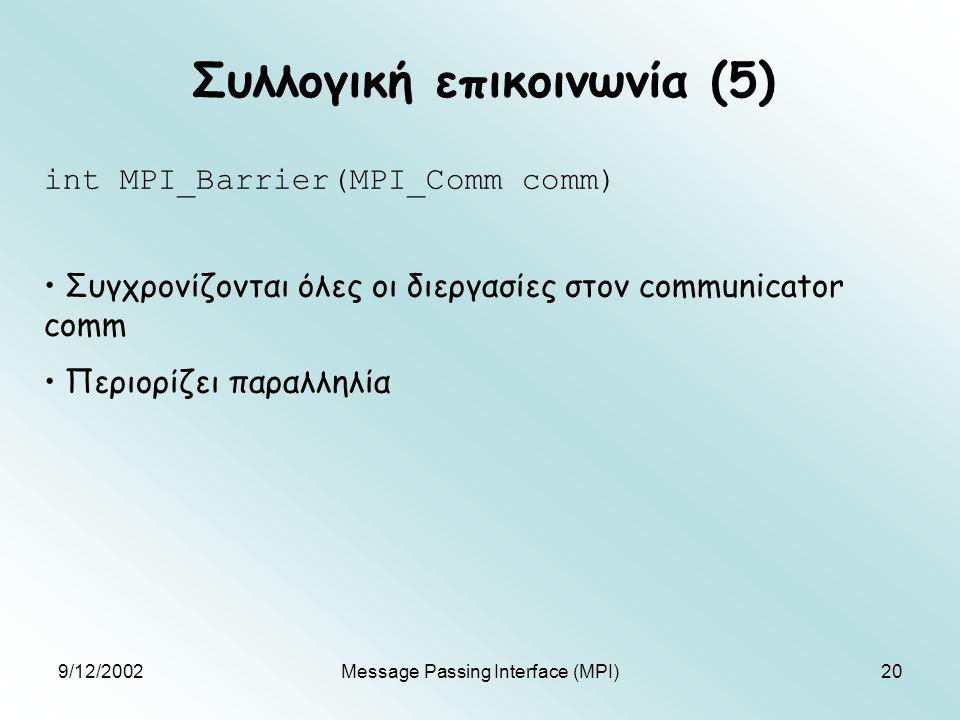 9/12/2002Message Passing Interface (MPI)20 Συλλογική επικοινωνία (5) int MPI_Barrier(MPI_Comm comm) Συγχρονίζονται όλες οι διεργασίες στον communicator comm Περιορίζει παραλληλία