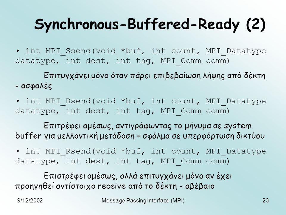 9/12/2002Message Passing Interface (MPI)23 Synchronous-Buffered-Ready (2) int MPI_Ssend(void *buf, int count, MPI_Datatype datatype, int dest, int tag