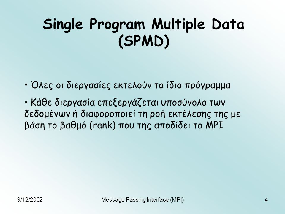9/12/2002Message Passing Interface (MPI)4 Single Program Multiple Data (SPMD) Όλες οι διεργασίες εκτελούν το ίδιο πρόγραμμα Κάθε διεργασία επεξεργάζετ