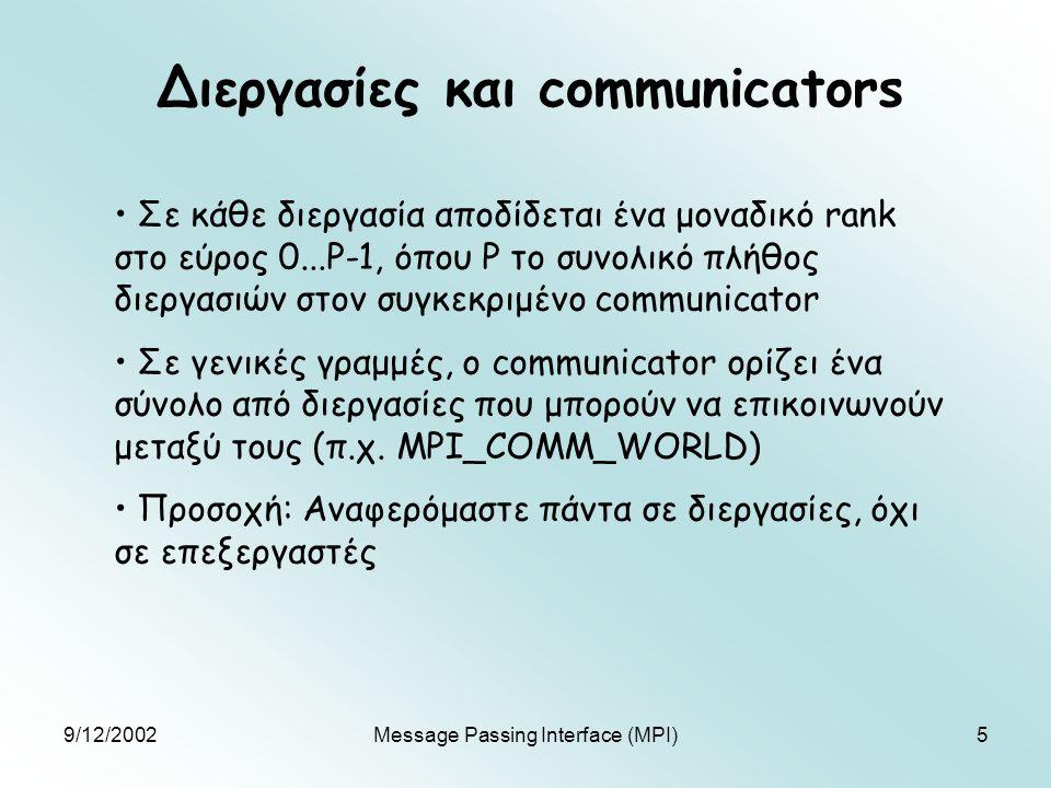 9/12/2002Message Passing Interface (MPI)5 Διεργασίες και communicators Σε κάθε διεργασία αποδίδεται ένα μοναδικό rank στο εύρος 0...P-1, όπου P το συνολικό πλήθος διεργασιών στον συγκεκριμένο communicator Σε γενικές γραμμές, o communicator ορίζει ένα σύνολο από διεργασίες που μπορούν να επικοινωνούν μεταξύ τους (π.χ.