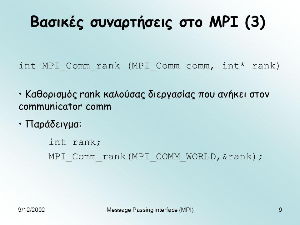 9/12/2002Message Passing Interface (MPI)9 Βασικές συναρτήσεις στο MPI (3) int MPI_Comm_rank (MPI_Comm comm, int* rank) Καθορισμός rank καλούσας διεργασίας που ανήκει στον communicator comm Παράδειγμα: int rank; MPI_Comm_rank(MPI_COMM_WORLD,&rank);