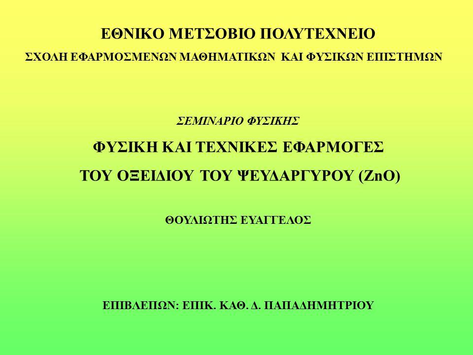 Το ZnO ως Ημιαγωγός Μονωτές Κακοί αγωγοί του ηλεκτρισμού Ημιαγωγοί Αγωγοί του ηλεκτρισμού υπό προϋποθέσεις Μέταλλα Καλοί αγωγοί του ηλεκτρισμού Ηλεκτρονική διάταξη ημιαγωγού σε Τ=0 Κ (αριστερά) και σε Τ>0 Κ (δεξιά)
