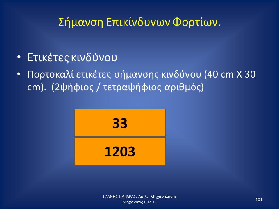 Σήμανση Επικίνδυνων Φορτίων. Ετικέτες κινδύνου Πορτοκαλί ετικέτες σήμανσης κινδύνου (40 cm X 30 cm). (2ψήφιος / τετραψήφιος αριθμός) ΤΖΑΝΗΣ ΠΑΡΑΡΑΣ. Δ
