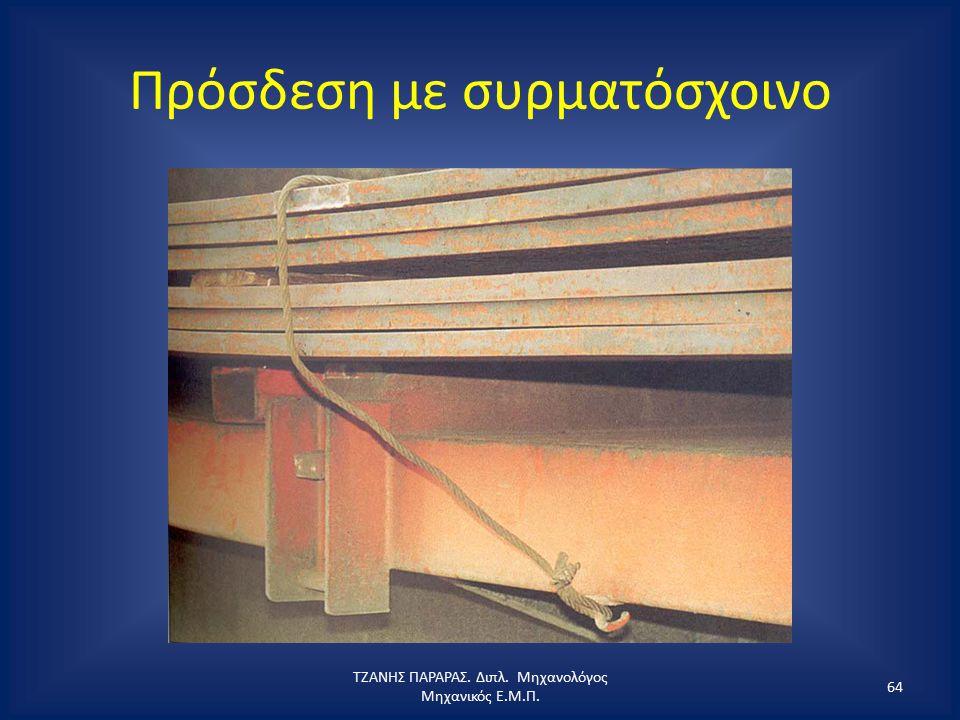 Πρόσδεση με συρματόσχοινο ΤΖΑΝΗΣ ΠΑΡΑΡΑΣ. Διπλ. Μηχανολόγος Μηχανικός Ε.Μ.Π. 64
