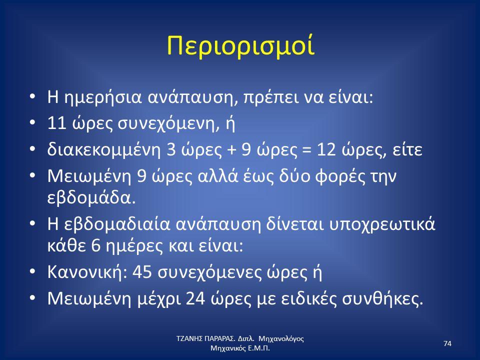 Περιορισμοί Η ημερήσια ανάπαυση, πρέπει να είναι: 11 ώρες συνεχόμενη, ή διακεκομμένη 3 ώρες + 9 ώρες = 12 ώρες, είτε Μειωμένη 9 ώρες αλλά έως δύο φορέ