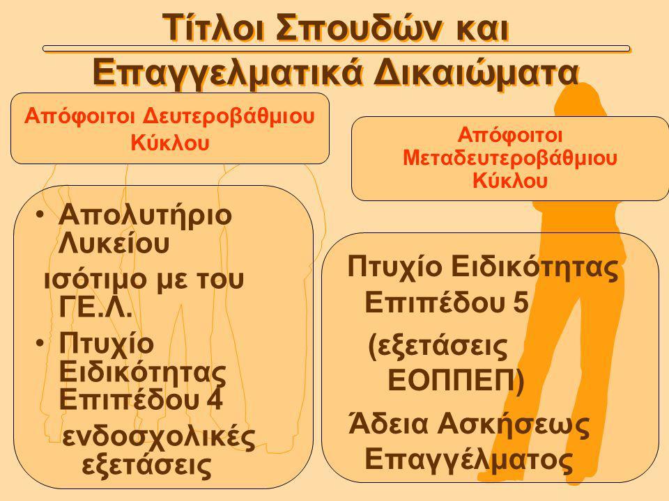 Τίτλοι Σπουδών και Επαγγελματικά Δικαιώματα Απολυτήριο Λυκείου ισότιμο με του ΓΕ.Λ.