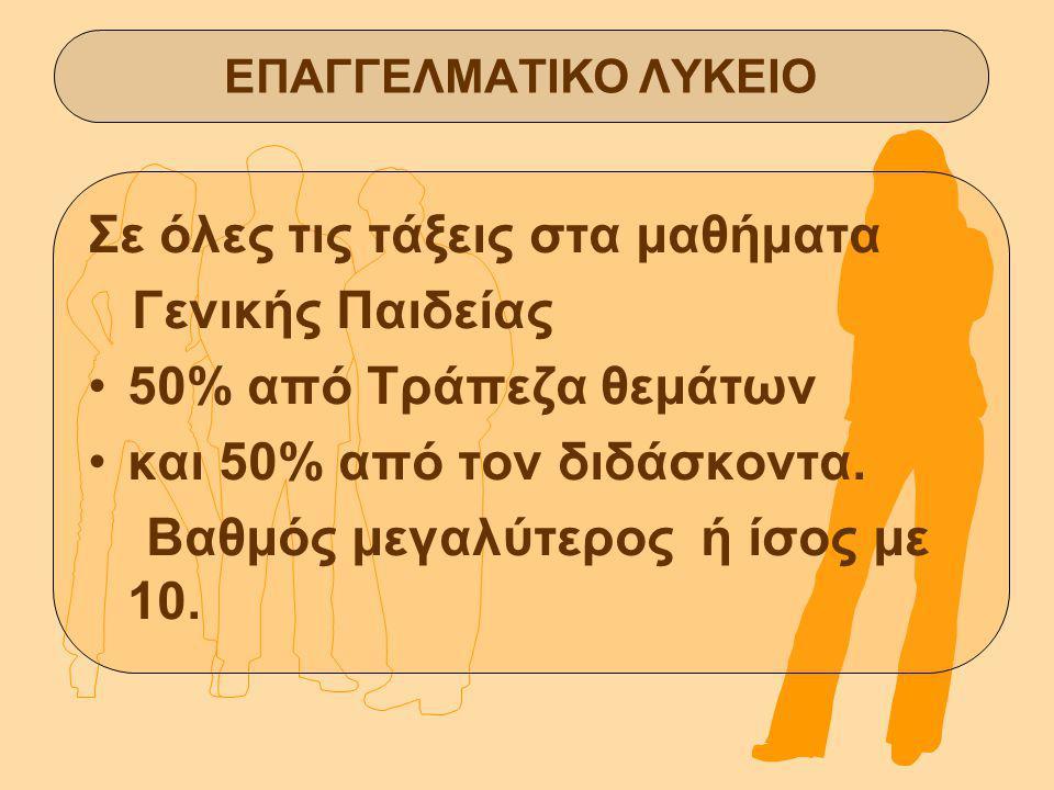 Σε όλες τις τάξεις στα μαθήματα Γενικής Παιδείας 50% από Τράπεζα θεμάτων και 50% από τον διδάσκοντα.