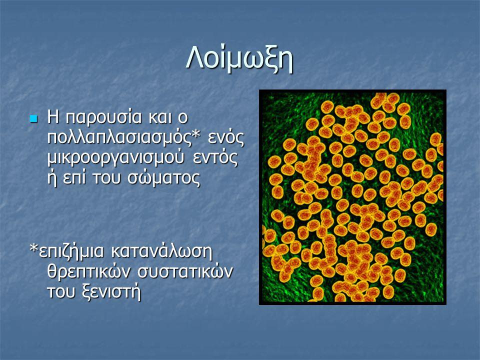 Λοίμωξη Η παρουσία και ο πολλαπλασιασμός* ενός μικροοργανισμού εντός ή επί του σώματος Η παρουσία και ο πολλαπλασιασμός* ενός μικροοργανισμού εντός ή επί του σώματος *επιζήμια κατανάλωση θρεπτικών συστατικών του ξενιστή