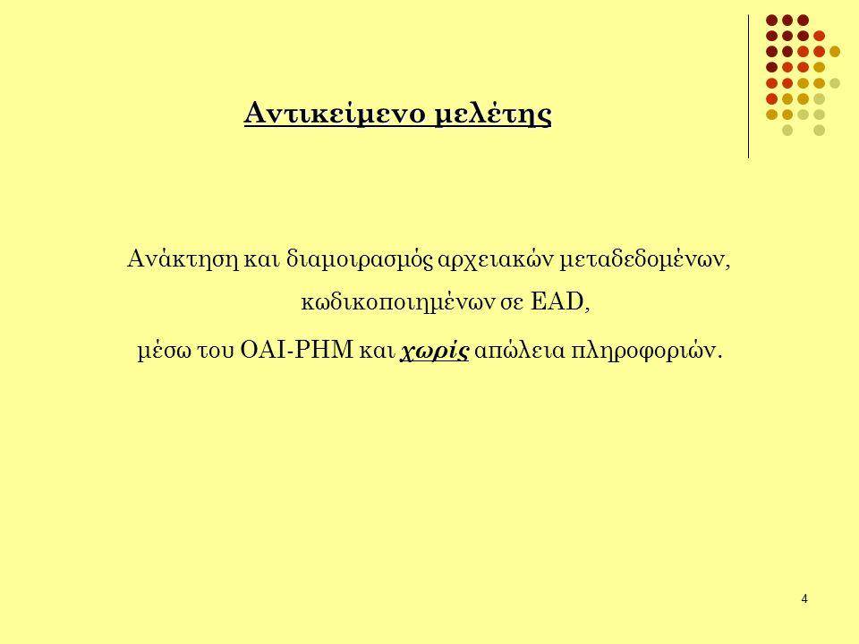 4 Αντικείμενο μελέτης Ανάκτηση και διαμοιρασμός αρχειακών μεταδεδομένων, κωδικοποιημένων σε EAD, μέσω του ΟΑΙ-ΡΗΜ και χωρίς απώλεια πληροφοριών.