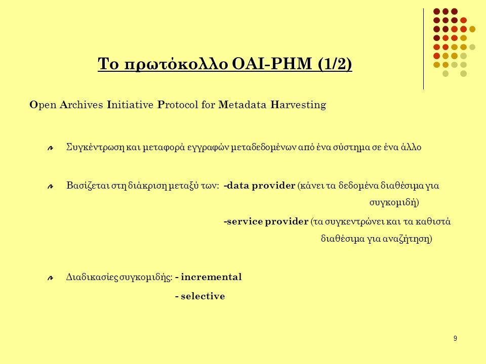 9 Το πρωτόκολλο ΟΑΙ-ΡΗΜ (1/2) O pen A rchives I nitiative P rotocol for M etadata H arvesting Συγκέντρωση και μεταφορά εγγραφών μεταδεδομένων από ένα σύστημα σε ένα άλλο Βασίζεται στη διάκριση μεταξύ των: -data provider (κάνει τα δεδομένα διαθέσιμα για συγκομιδή) -service provider (τα συγκεντρώνει και τα καθιστά διαθέσιμα για αναζήτηση) Διαδικασίες συγκομιδής: - incremental - selective