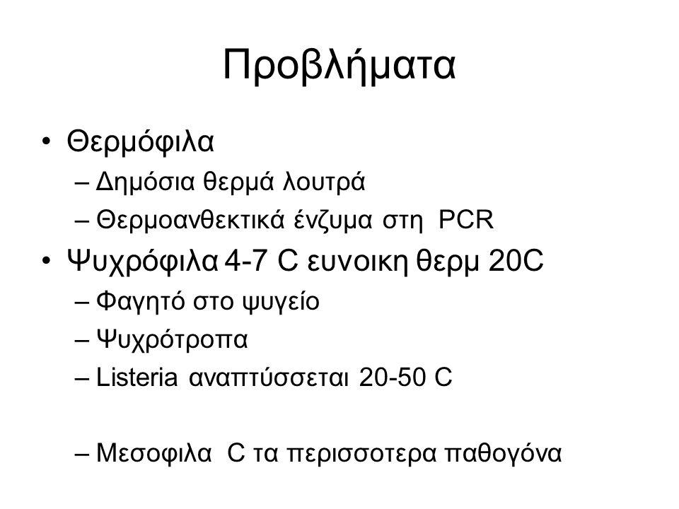 Προβλήματα Θερμόφιλα –Δημόσια θερμά λουτρά –Θερμοανθεκτικά ένζυμα στη PCR Ψυχρόφιλα 4-7 C ευνοικη θερμ 20C –Φαγητό στο ψυγείο –Ψυχρότροπα –Listeria αναπτύσσεται 20-50 C –Μεσοφιλα C τα περισσoτερα παθογόνα