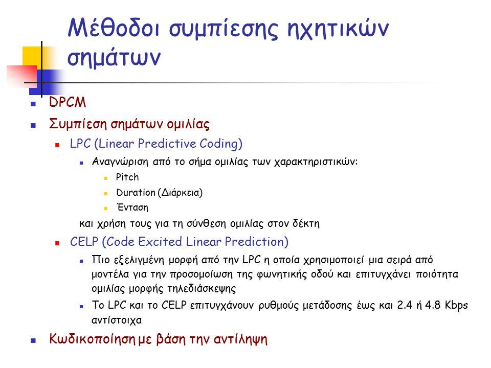 Ο κωδικοποιητής ήχου MPEG-1 (Layer I & II) Κωδικοποίηση με βάση την αντίληψη =>
