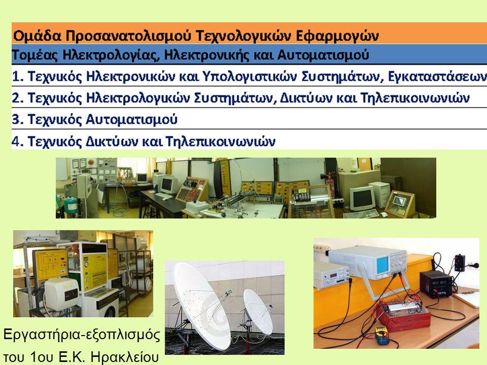 Εργαστήρια-εξοπλισμός του 1ου Ε.Κ. Ηρακλείου