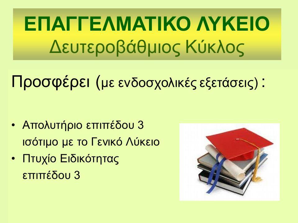 Προσφέρει ( με ενδοσχολικές εξετάσεις) : Απολυτήριο επιπέδου 3 ισότιμο με το Γενικό Λύκειο Πτυχίο Ειδικότητας επιπέδου 3 ΕΠΑΓΓΕΛΜΑΤΙΚΟ ΛΥΚΕΙΟ Δευτεροβάθμιος Κύκλος