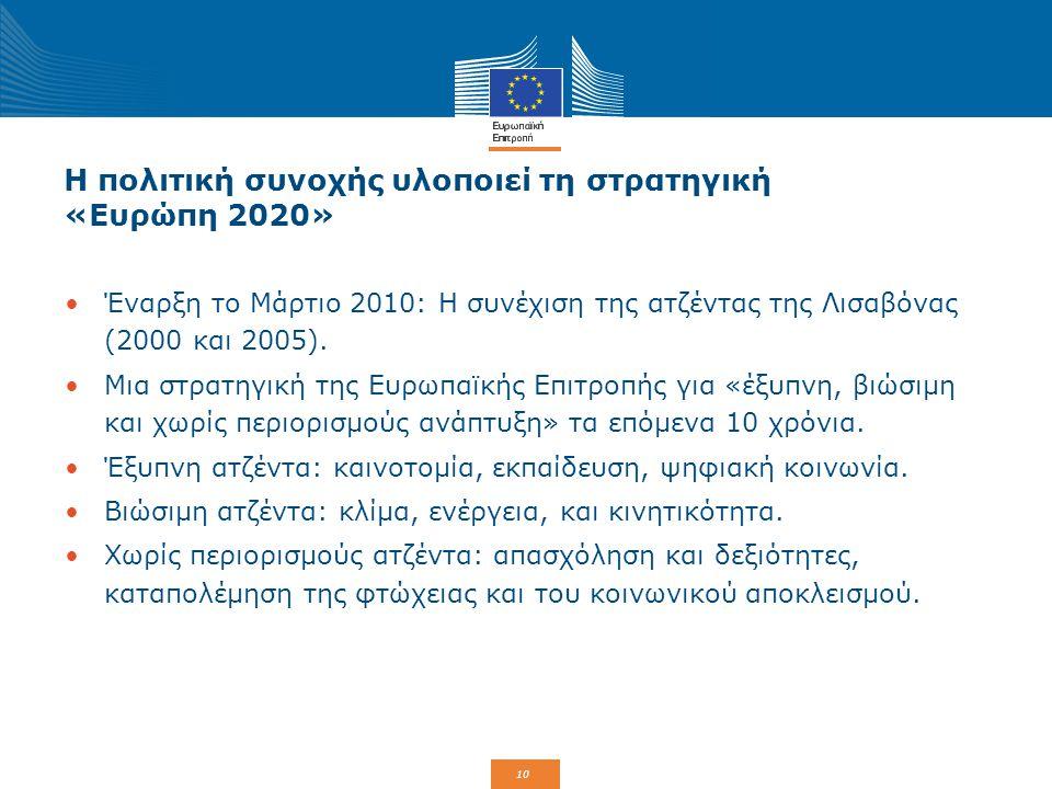 10 Η πολιτική συνοχής υλοποιεί τη στρατηγική «Ευρώπη 2020» Έναρξη το Μάρτιο 2010: Η συνέχιση της ατζέντας της Λισαβόνας (2000 και 2005). Μια στρατηγικ
