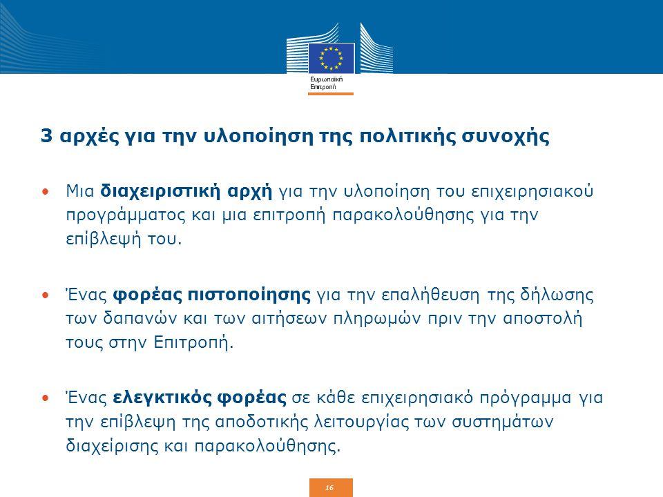 16 3 αρχές για την υλοποίηση της πολιτικής συνοχής Μια διαχειριστική αρχή για την υλοποίηση του επιχειρησιακού προγράμματος και μια επιτροπή παρακολού