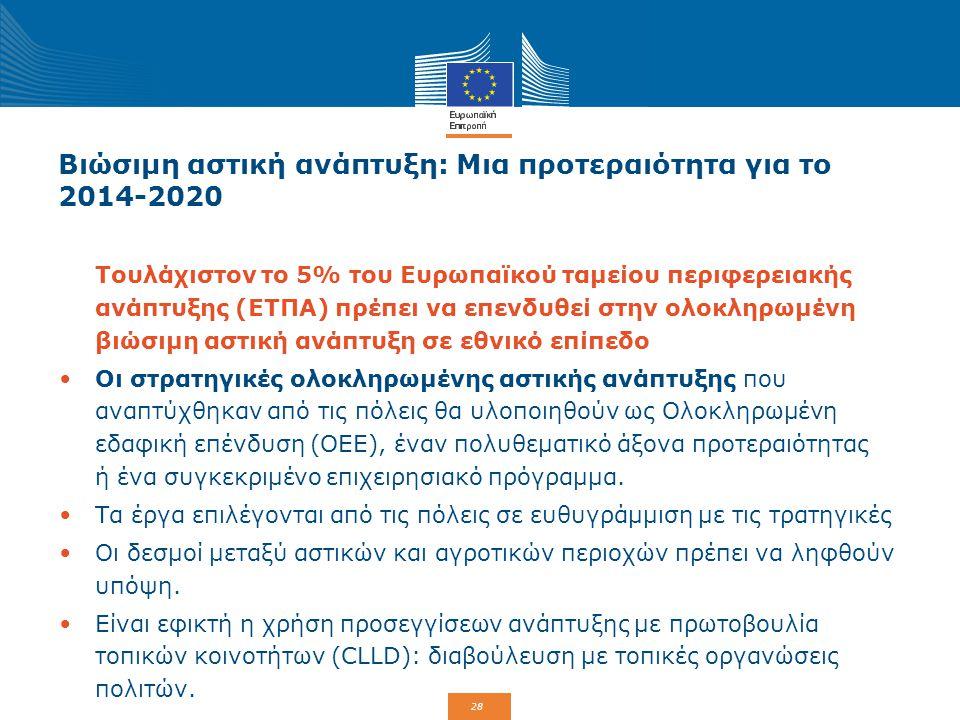 28 Βιώσιμη αστική ανάπτυξη: Μια προτεραιότητα για το 2014-2020 Τουλάχιστον το 5% του Ευρωπαϊκού ταμείου περιφερειακής ανάπτυξης (ΕΤΠΑ) πρέπει να επενδ