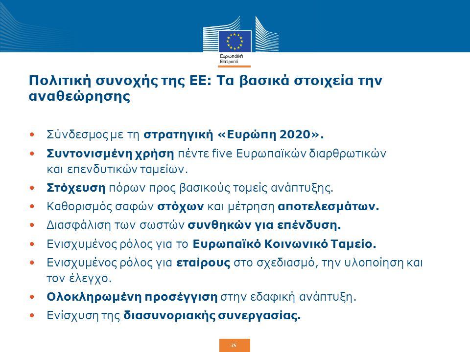 35 Πολιτική συνοχής της ΕΕ: Τα βασικά στοιχεία την αναθεώρησης Σύνδεσμος με τη στρατηγική «Ευρώπη 2020». Συντονισμένη χρήση πέντε five Ευρωπαϊκών διαρ
