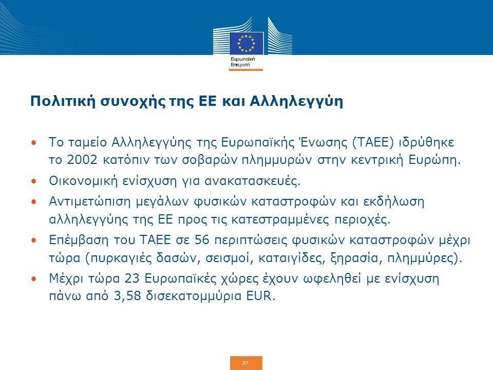 37 Πολιτική συνοχής της ΕΕ και Αλληλεγγύη Το ταμείο Αλληλεγγύης της Ευρωπαϊκής Ένωσης (ΤΑΕΕ) ιδρύθηκε το 2002 κατόπιν των σοβαρών πλημμυρών στην κεντρ