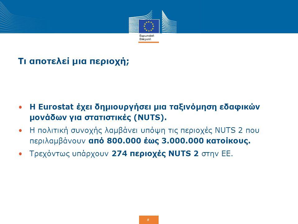 8 Τι αποτελεί μια περιοχή; Η Eurostat έχει δημιουργήσει μια ταξινόμηση εδαφικών μονάδων για στατιστικές (NUTS). Η πολιτική συνοχής λαμβάνει υπόψη τις
