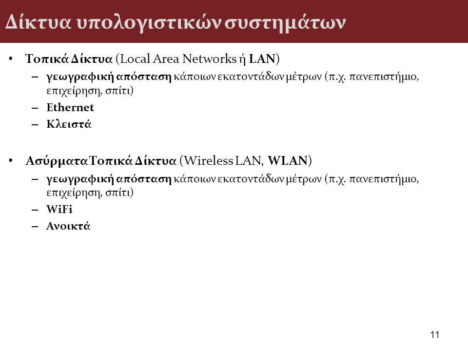 Δίκτυα υπολογιστικών συστημάτων Τοπικά Δίκτυα (Local Area Networks ή LAN) – γεωγραφική απόσταση κάποιων εκατοντάδων μέτρων (π.χ. πανεπιστήμιο, επιχείρ