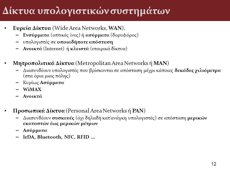 Δίκτυα υπολογιστικών συστημάτων Ευρεία Δίκτυα (Wide Area Networks, WAN). – Ενσύρματα (οπτικές ίνες) ή ασύρματα (δορυφόρος) – υπολογιστές σε οποιαδήποτ