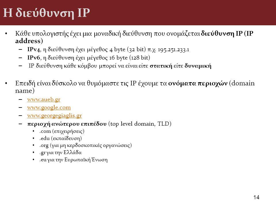 Η διεύθυνση ΙΡ Κάθε υπολογιστής έχει μια μοναδική διεύθυνση που ονομάζεται διεύθυνση IP (IP address) – IPv4, η διεύθυνση έχει μέγεθος 4 byte (32 bit)