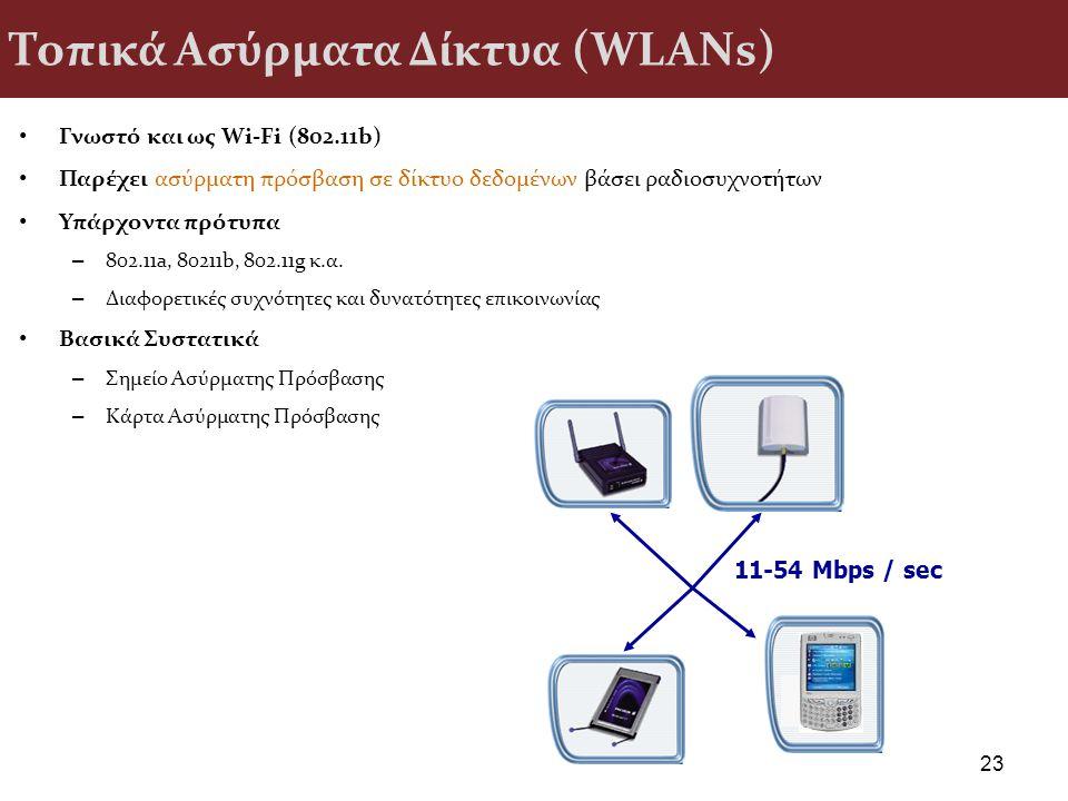 Τοπικά Ασύρματα Δίκτυα (WLANs) Γνωστό και ως Wi-Fi (802.11b) Παρέχει ασύρματη πρόσβαση σε δίκτυο δεδομένων βάσει ραδιοσυχνοτήτων Υπάρχοντα πρότυπα – 8