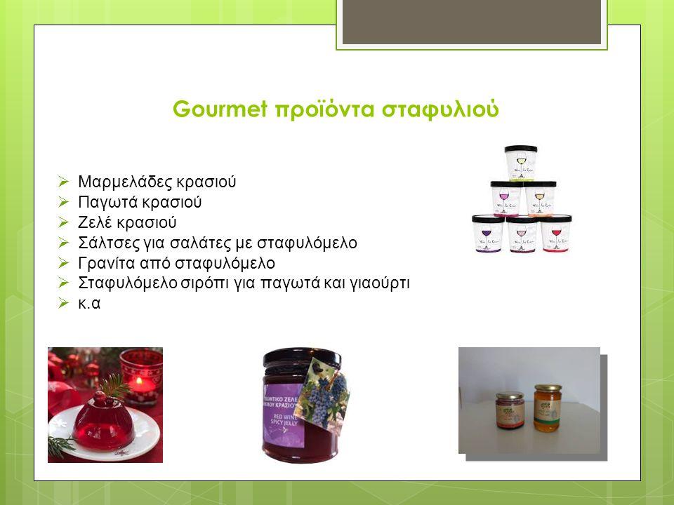 Gourmet προϊόντα σταφυλιού  Μαρμελάδες κρασιού  Παγωτά κρασιού  Ζελέ κρασιού  Σάλτσες για σαλάτες με σταφυλόμελο  Γρανίτα από σταφυλόμελο  Σταφυλόμελο σιρόπι για παγωτά και γιαούρτι  κ.α