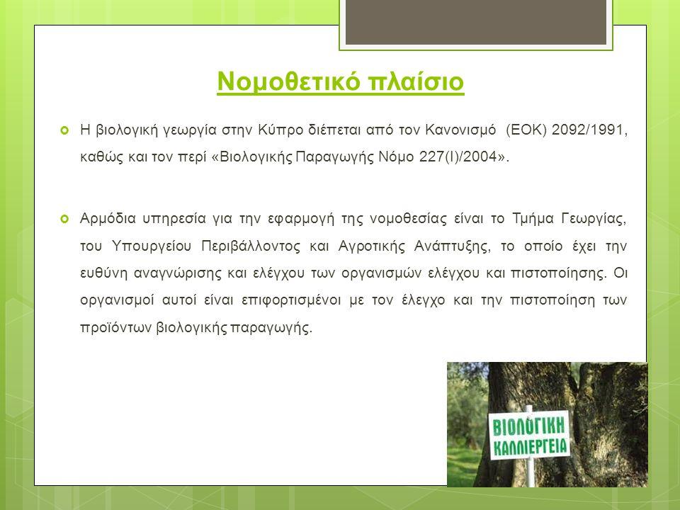Νομοθετικό πλαίσιο  Η βιολογική γεωργία στην Κύπρο διέπεται από τον Κανονισμό (ΕΟΚ) 2092/1991, καθώς και τον περί «Βιολογικής Παραγωγής Νόμο 227(I)/2