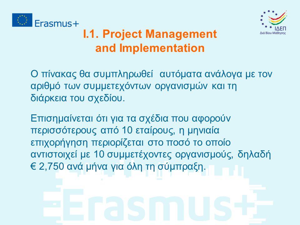 I.1. Project Management and Implementation Ο πίνακας θα συμπληρωθεί αυτόματα ανάλογα με τον αριθμό των συμμετεχόντων οργανισμών και τη διάρκεια του σχ