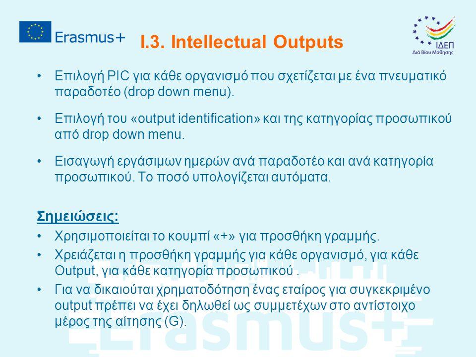 I.3. Intellectual Outputs Επιλογή PIC για κάθε οργανισμό που σχετίζεται με ένα πνευματικό παραδοτέο (drop down menu). Επιλογή του «output identificati
