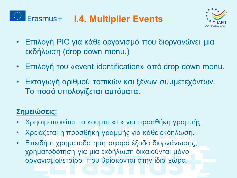 I.4. Multiplier Events Επιλογή PIC για κάθε οργανισμό που διοργανώνει μια εκδήλωση (drop down menu.) Επιλογή του «event identification» από drop down