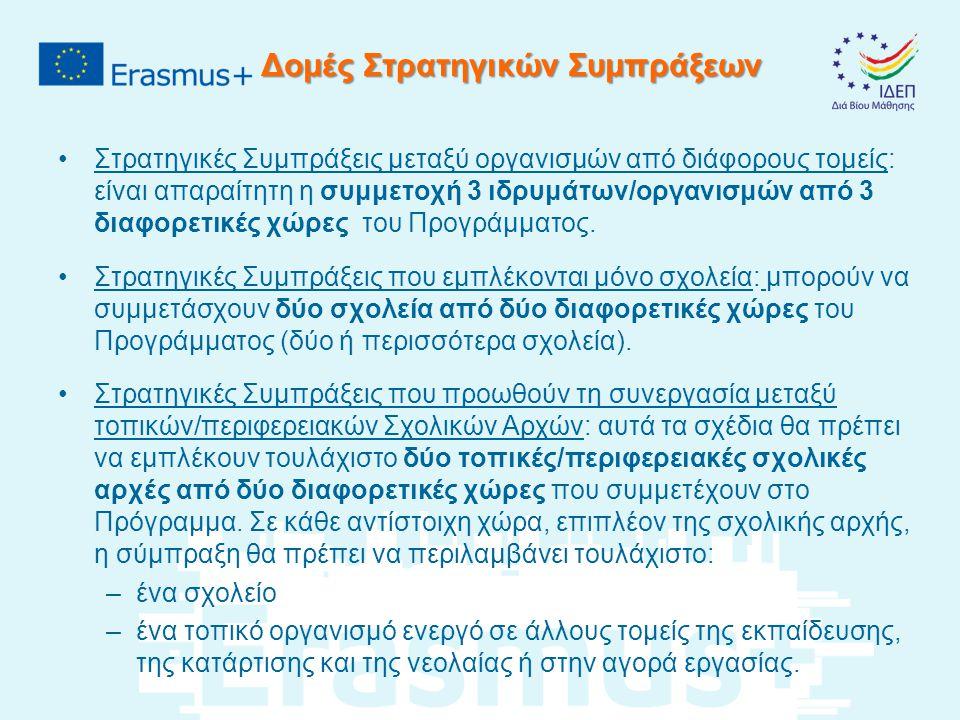 Δομές Στρατηγικών Συμπράξεων Στρατηγικές Συμπράξεις μεταξύ οργανισμών από διάφορους τομείς: είναι απαραίτητη η συμμετοχή 3 ιδρυμάτων/οργανισμών από 3