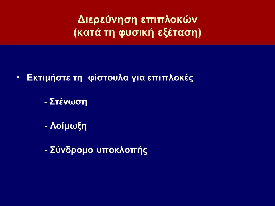 Διερεύνηση επιπλοκών (κατά τη φυσική εξέταση) Εκτιμήστε τη φίστουλα για επιπλοκές - Στένωση - Λοίμωξη - Σύνδρομο υποκλοπής