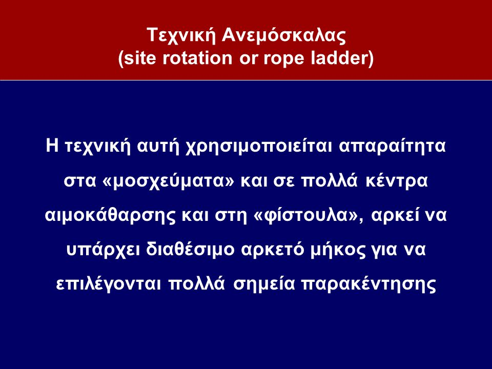 Τεχνική Ανεμόσκαλας (site rotation or rope ladder) Η τεχνική αυτή χρησιμοποιείται απαραίτητα στα «μοσχεύματα» και σε πολλά κέντρα αιμοκάθαρσης και στη