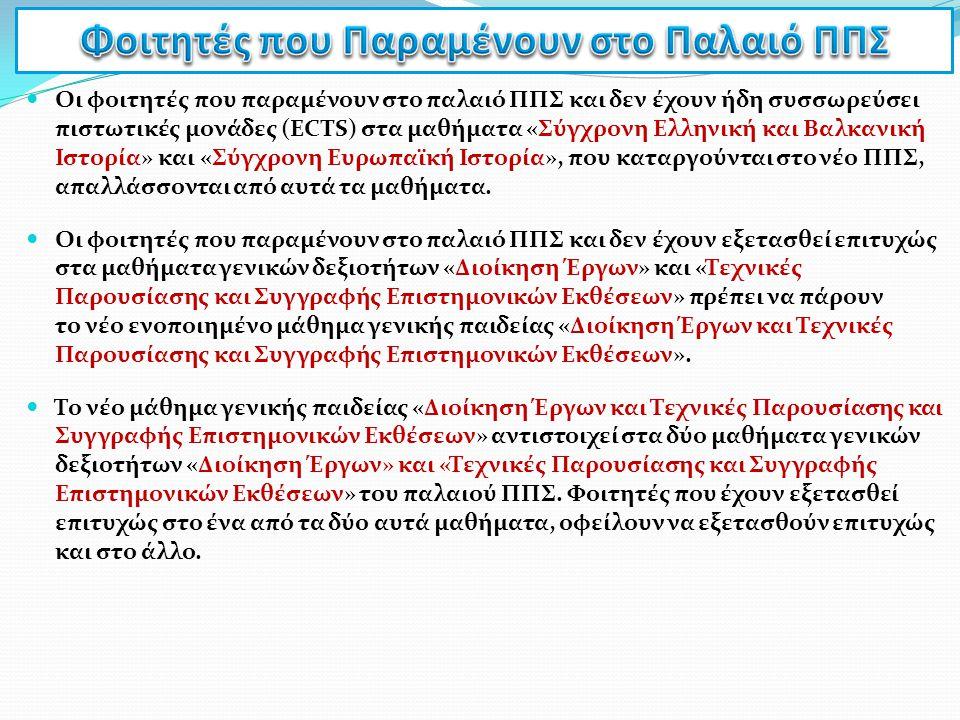 Οι φοιτητές που παραμένουν στο παλαιό ΠΠΣ και δεν έχουν ήδη συσσωρεύσει πιστωτικές μονάδες (ECTS) στα μαθήματα «Σύγχρονη Ελληνική και Βαλκανική Ιστορί