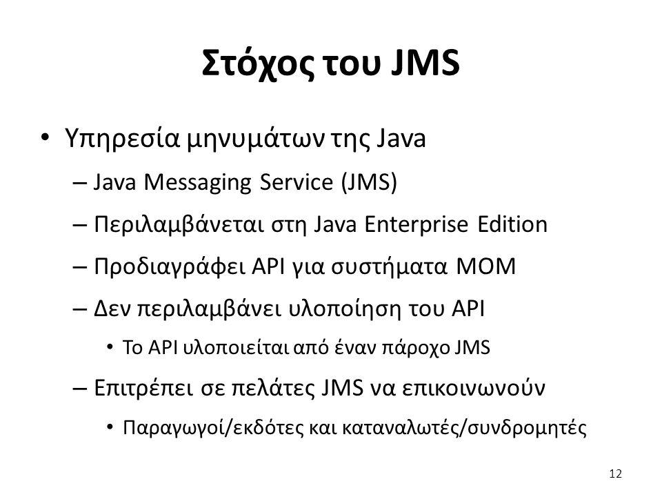 Στόχος του JMS Υπηρεσία μηνυμάτων της Java – Java Messaging Service (JMS) – Περιλαμβάνεται στη Java Enterprise Edition – Προδιαγράφει API για συστήματα MOM – Δεν περιλαμβάνει υλοποίηση του API Το API υλοποιείται από έναν πάροχο JMS – Επιτρέπει σε πελάτες JMS να επικοινωνούν Παραγωγοί/εκδότες και καταναλωτές/συνδρομητές 12