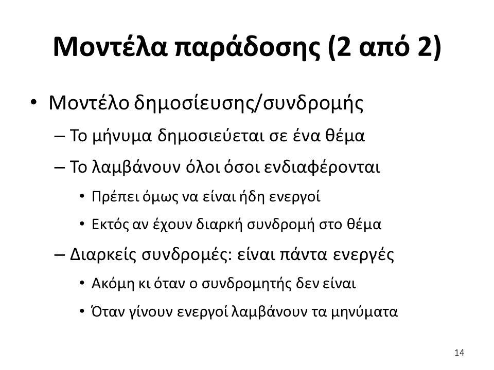 Μοντέλα παράδοσης (2 από 2) Μοντέλο δημοσίευσης/συνδρομής – Το μήνυμα δημοσιεύεται σε ένα θέμα – Το λαμβάνουν όλοι όσοι ενδιαφέρονται Πρέπει όμως να ε