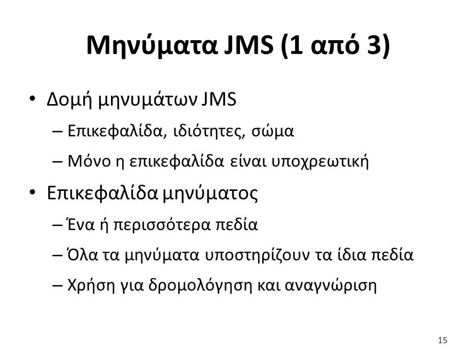 Μηνύματα JMS (1 από 3) Δομή μηνυμάτων JMS – Επικεφαλίδα, ιδιότητες, σώμα – Μόνο η επικεφαλίδα είναι υποχρεωτική Επικεφαλίδα μηνύματος – Ένα ή περισσότερα πεδία – Όλα τα μηνύματα υποστηρίζουν τα ίδια πεδία – Χρήση για δρομολόγηση και αναγνώριση 15