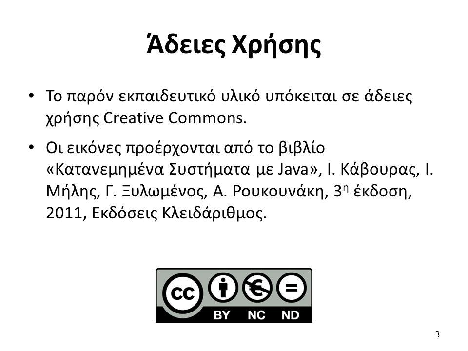 Άδειες Χρήσης Το παρόν εκπαιδευτικό υλικό υπόκειται σε άδειες χρήσης Creative Commons. Οι εικόνες προέρχονται από το βιβλίο «Κατανεμημένα Συστήματα με